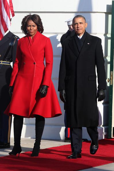 Thom Browne coat & CRS scarf  White House - February 11, 2014