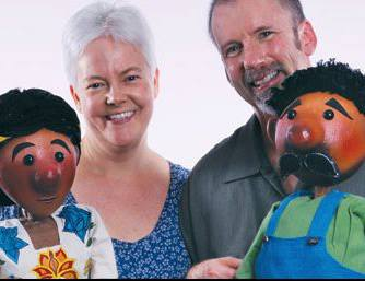 Bonny Hall and Jamie Keithline of Crabgrass Puppet Theatre