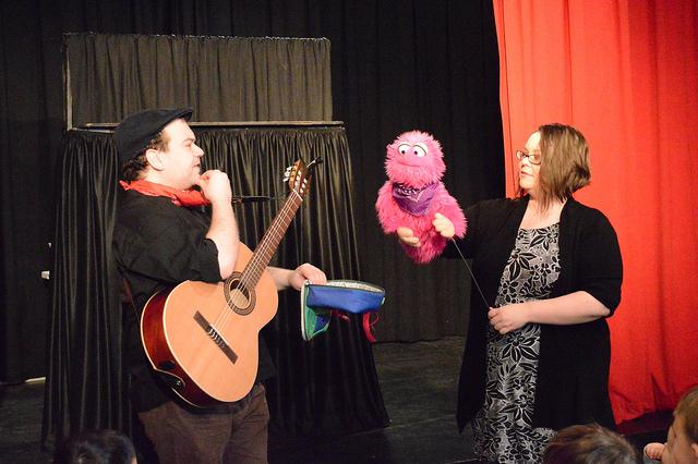Brenda Huggins and Phil Berman with Bella Monster in Puppet Playtime.