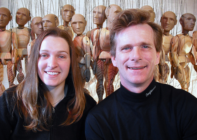 Peter Schaefer (right) and Jennifer Tebo (left), the performers from Tanglewood Marionettes!