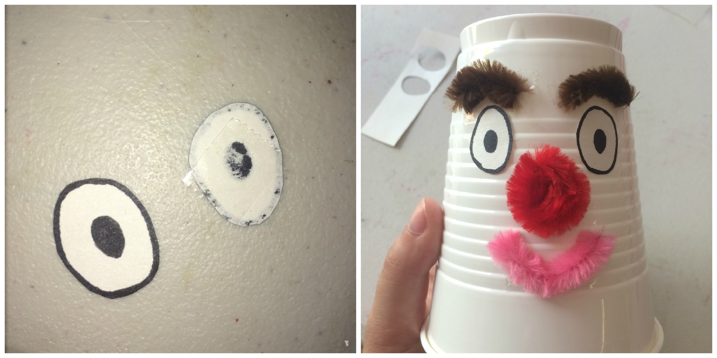 3. We suggest using googly eyes, but we couldn't find any while we were making this, so we just drew some instead! But we do think googly eyes would be much cuter. You can also add a mouth at this point. Take some artistic liberties with it! You can customize this DIY any way that you want.