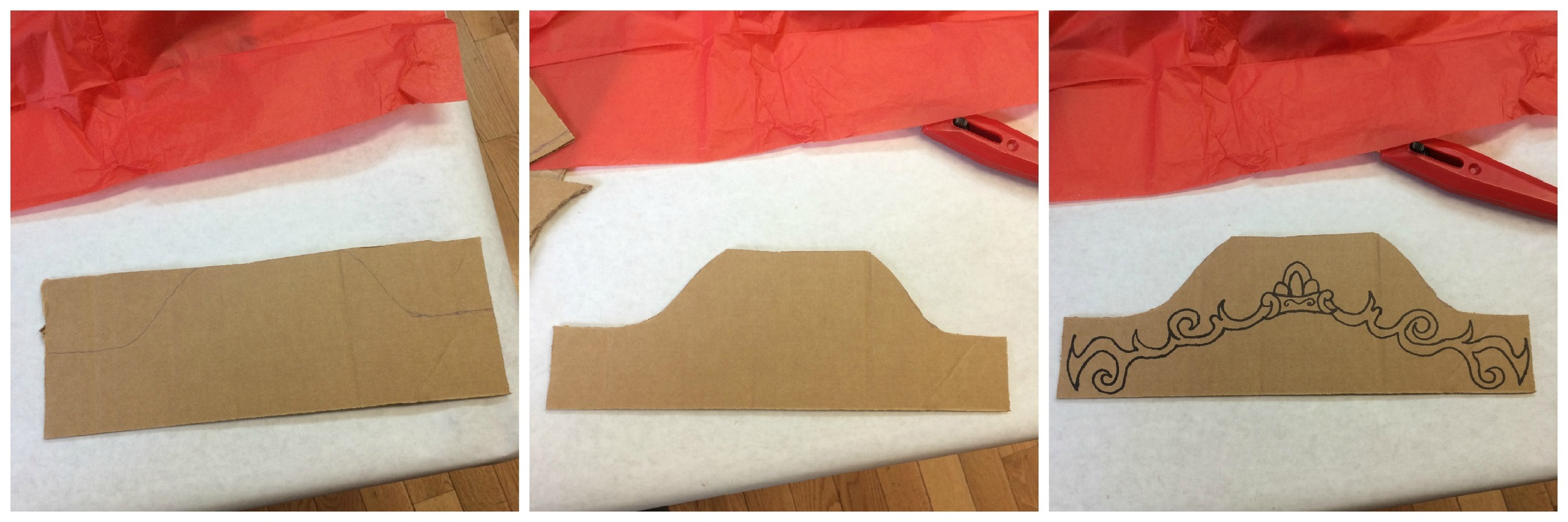 4. Cut out and design a headboard using the leftover cardboard from the front of the stage to make your theatre look authentic!