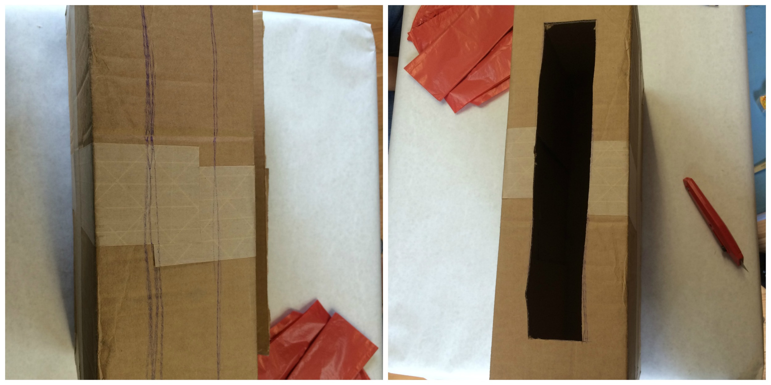 1. Outline a long rectangle along the top of the box. Cut this out with the box cutter. This is where you will be able to lower in puppets that are manipulated from above, like marionettes.