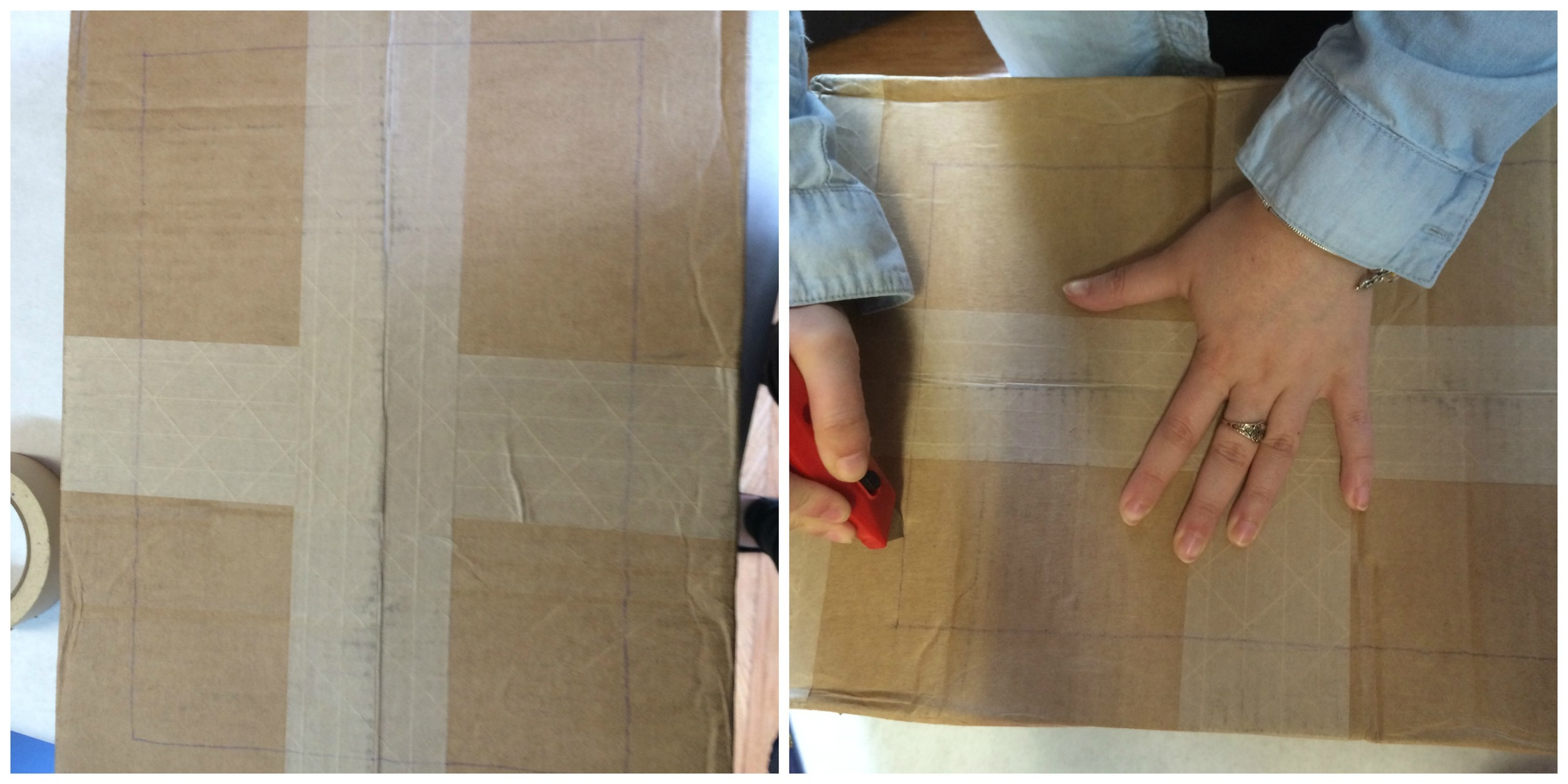3. Next, make a large rectangular cut-out at the front of the box. This will make the stage itself visible so you can see the puppets!