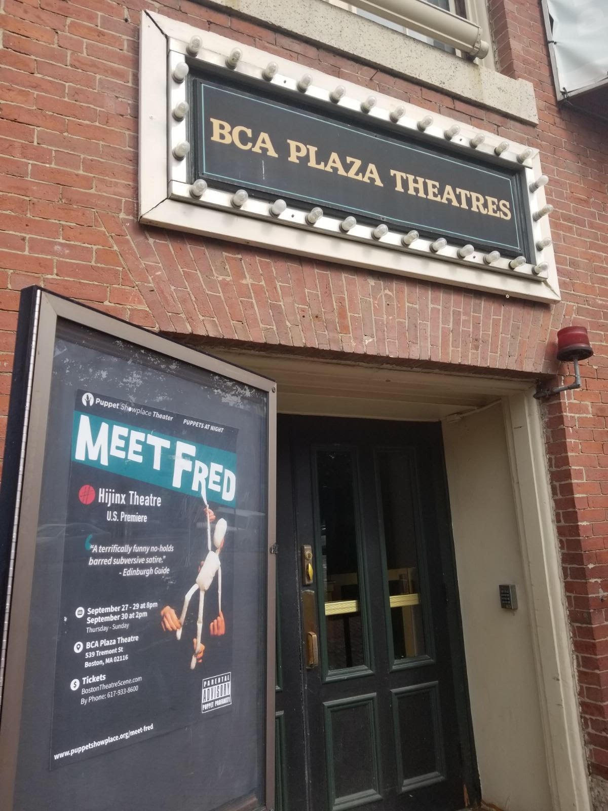 Fred Poster outside Plaza Theatre Door