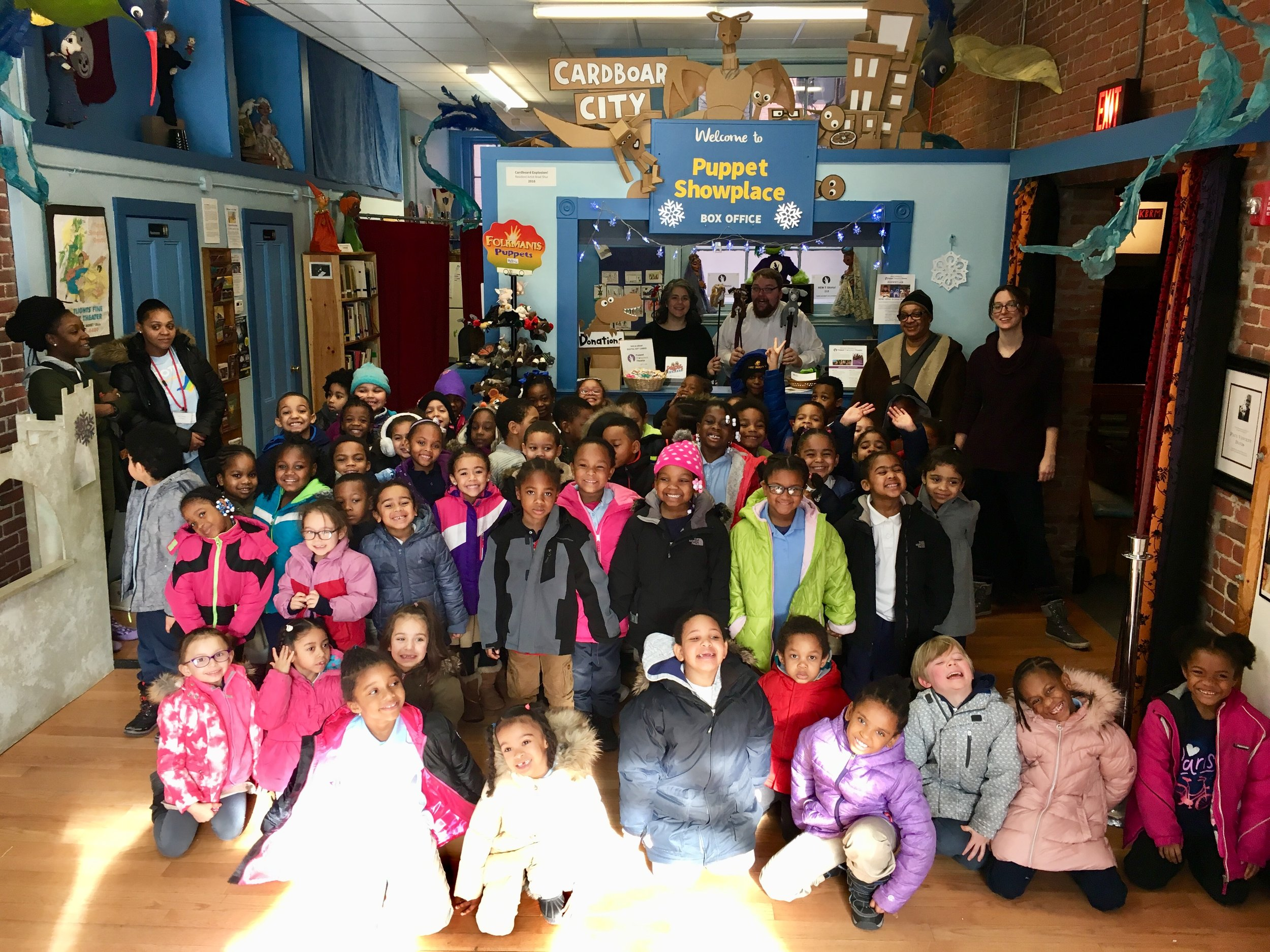 Students on a field trip to Puppet Showplace Theater, supported by YOUR gifts to the Mary Churchill Memorial Fund!