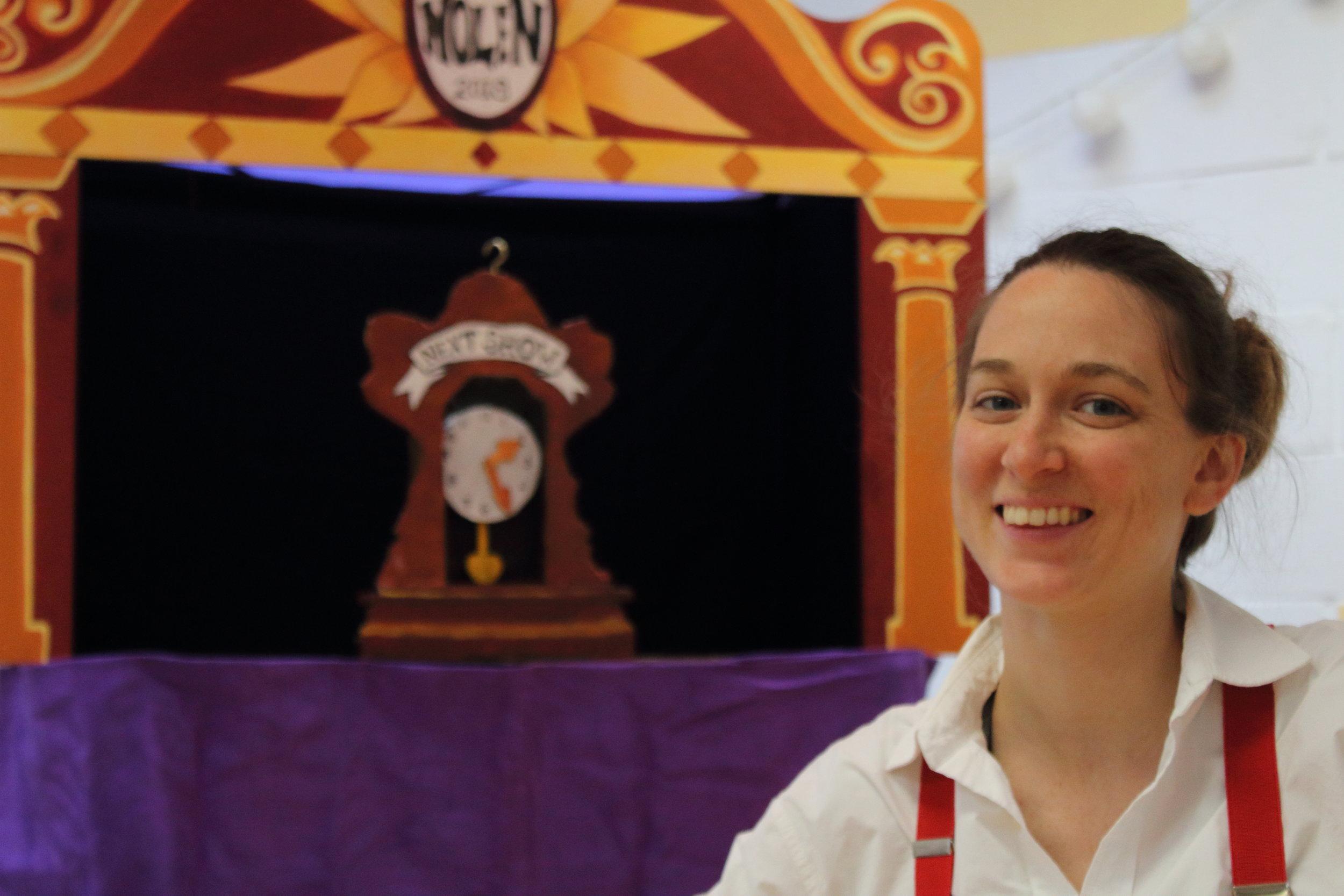 """Professor"" Nolen in front of her portable puppet booth!"