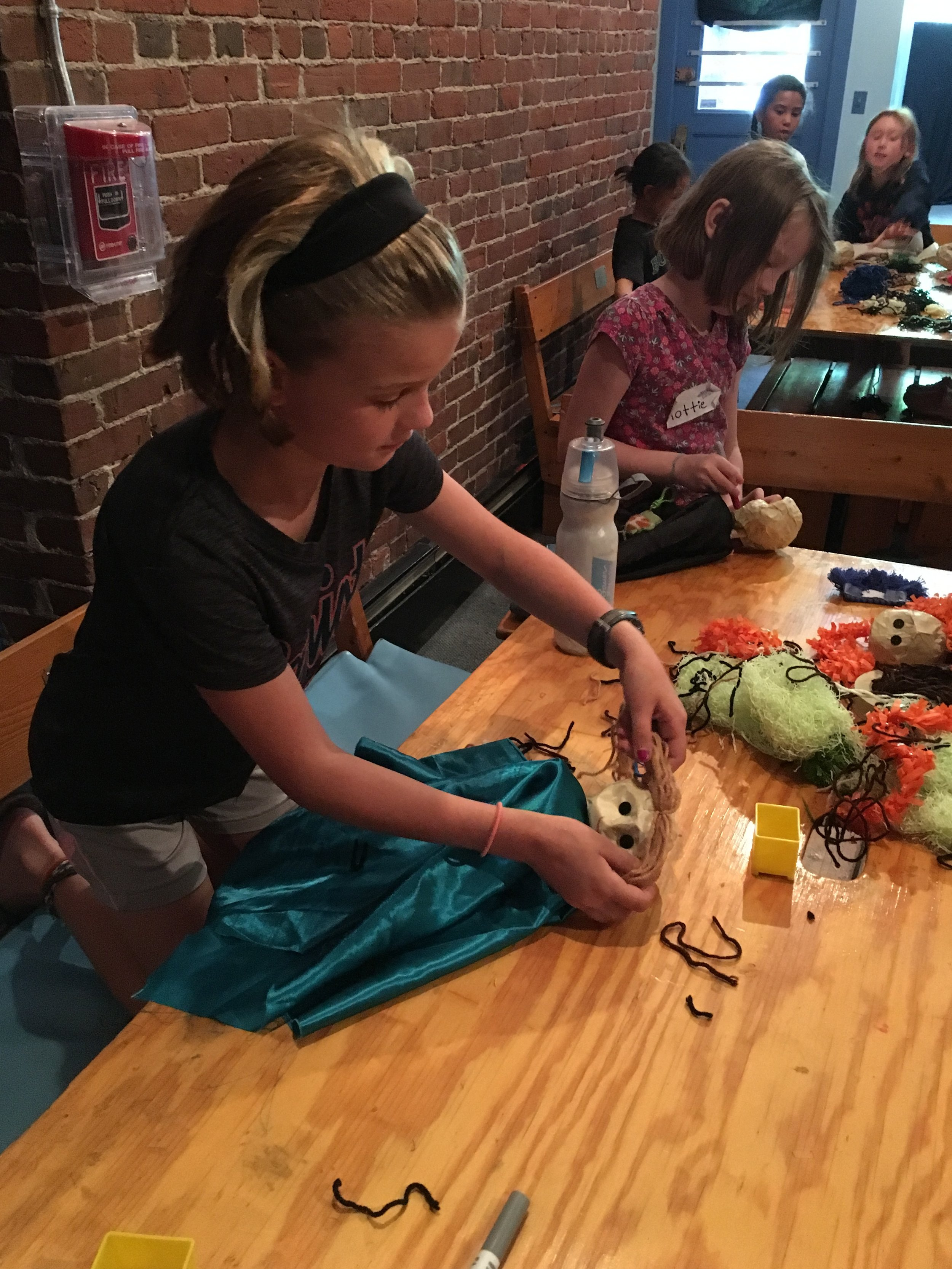 Camp Attendees building Puppets