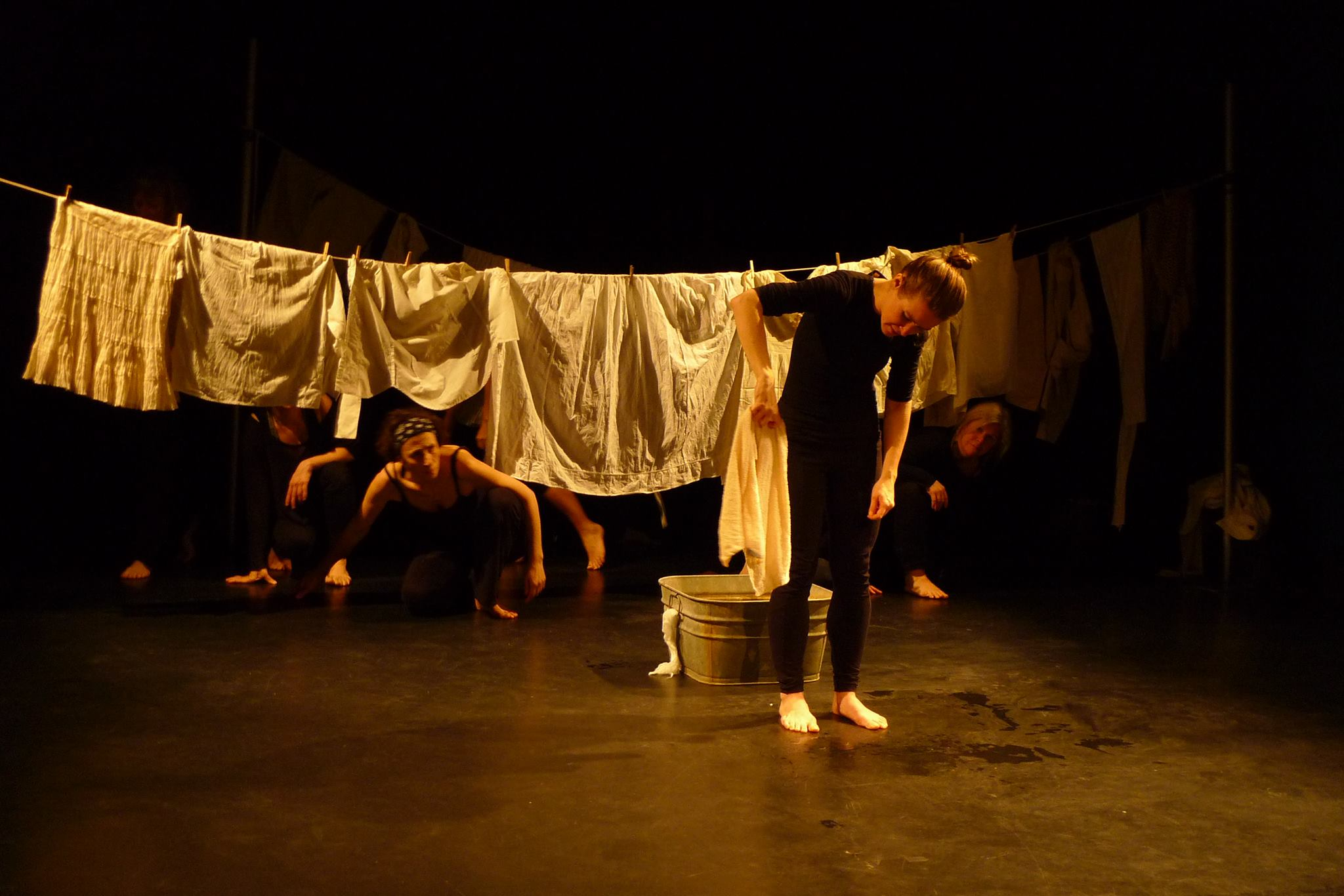 Veronica Barron with Quebec-based puppeteers in an exploratory rehearsal at MIAM in Montreal.