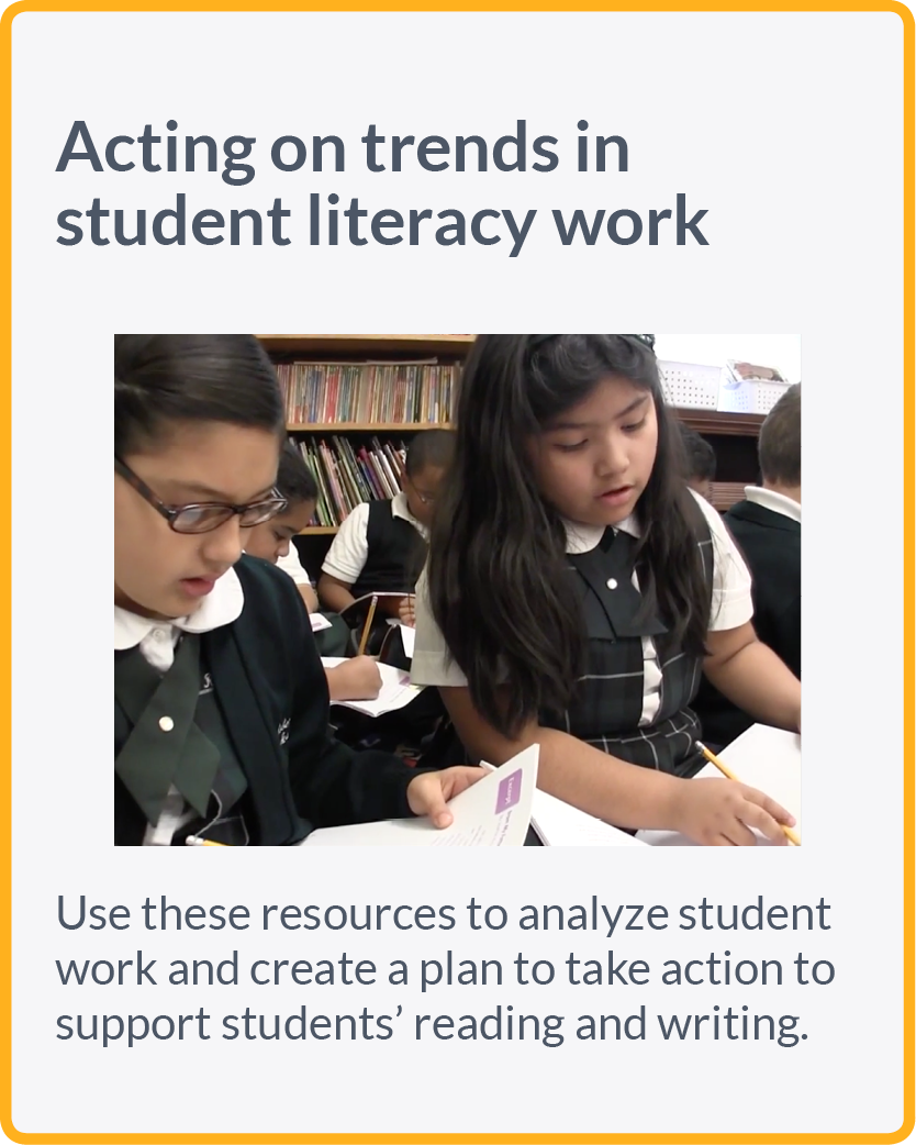 Use these resources to analyze student work and create a plan to take action to support students' reading and writing.