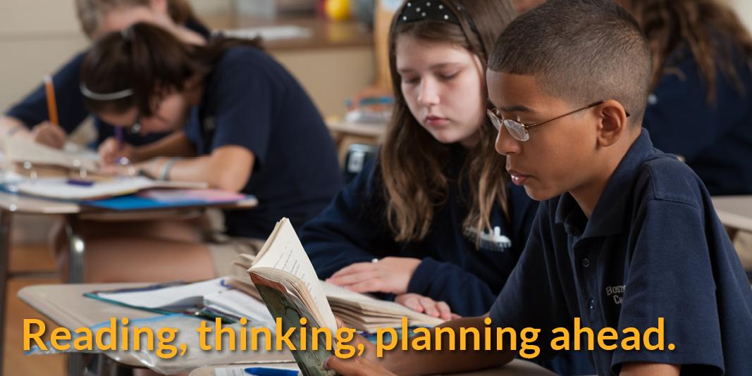 Reading, thinking, planning ahead.