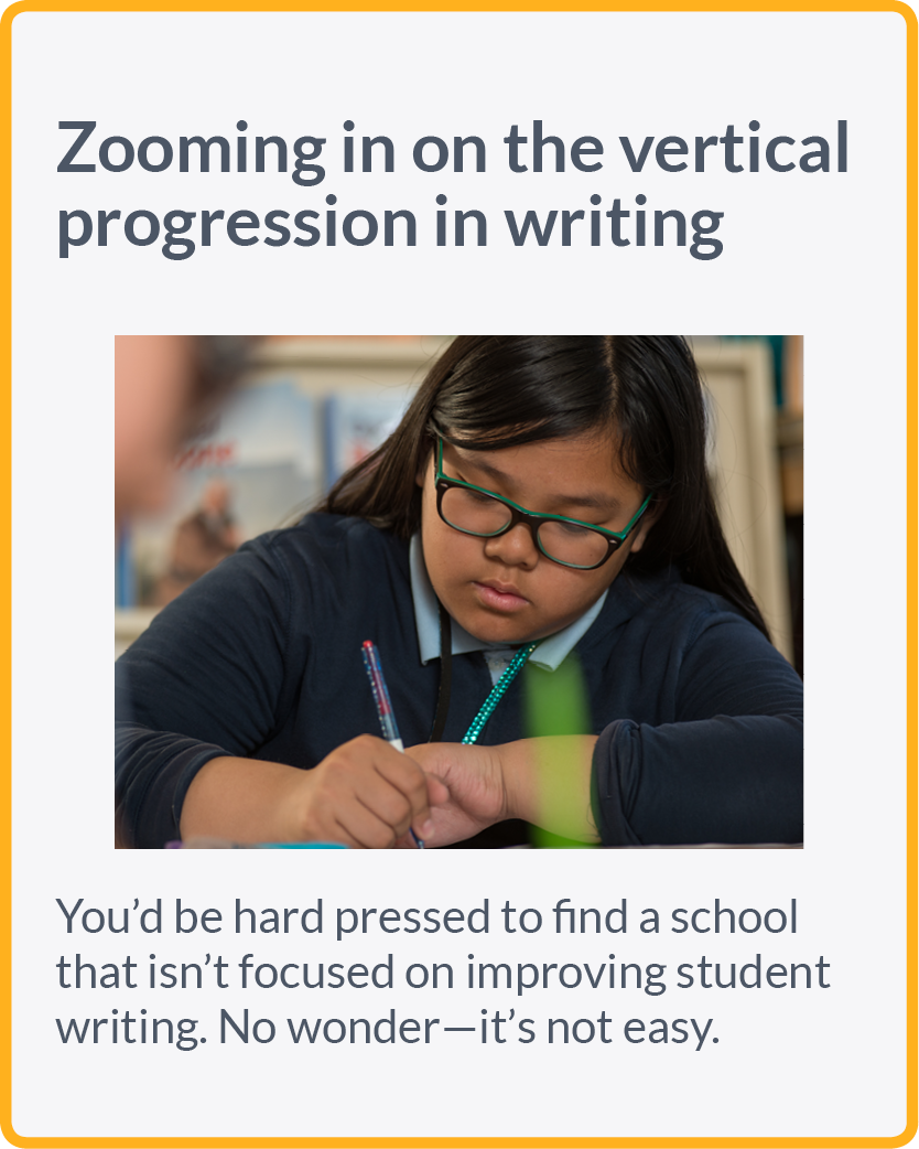 Zooming in on the vertical progression in writing