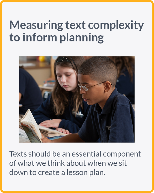 Measuring text complexity to inform planning