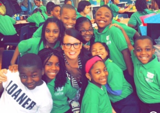 Third grade teacher Danielle Volta with her students