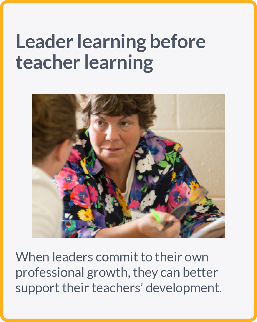 Leader learning before teacher learning. When leaders commit to their own professional growth, they can better support teachers' development.