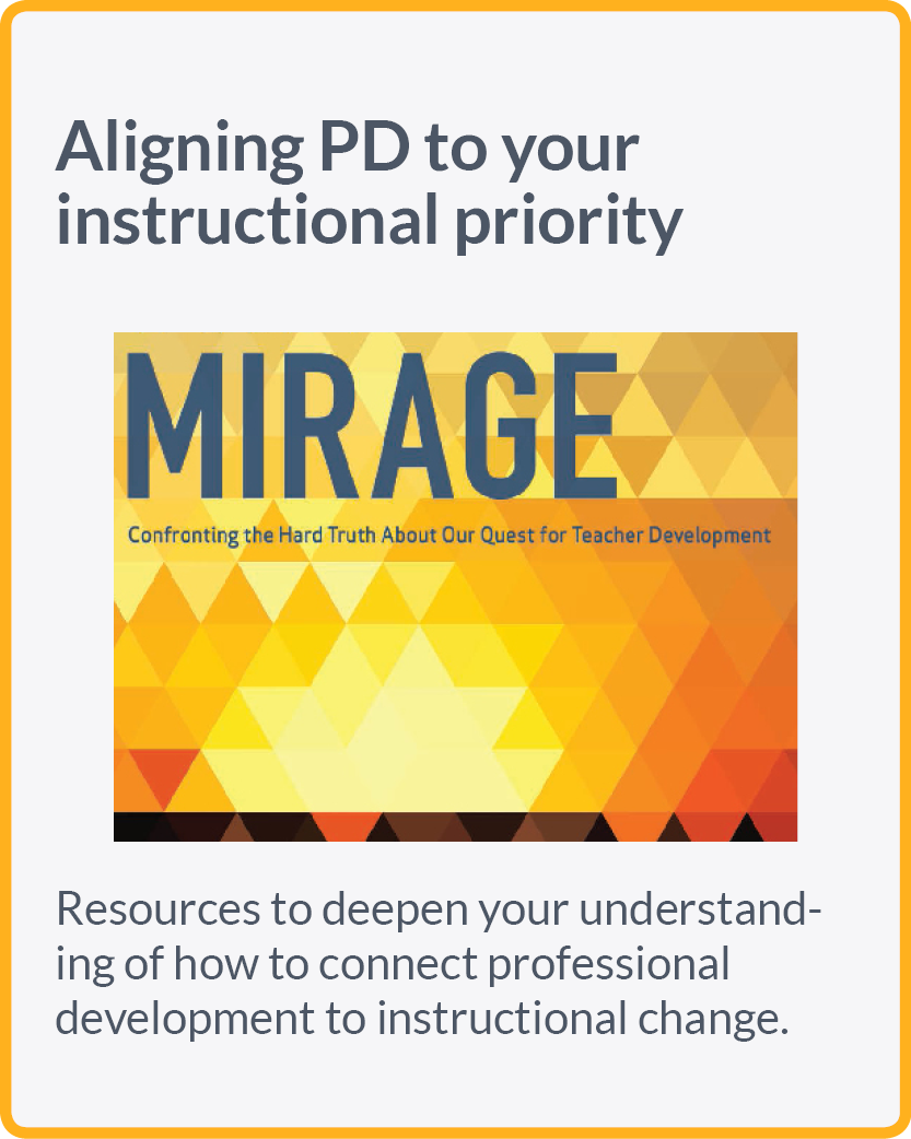 Resources to deepen your understanding of how to connect professional development to instructional change.