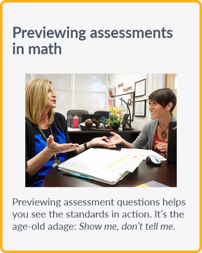 Previewing assessments in math