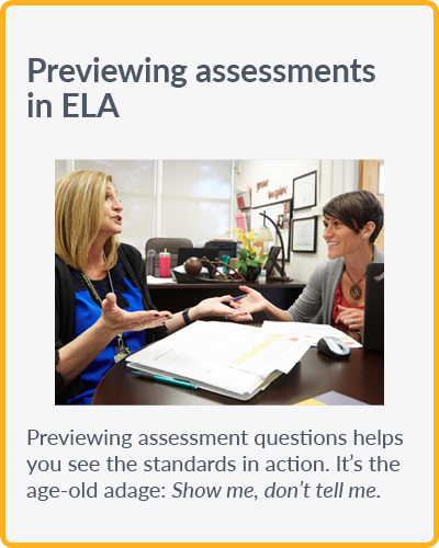 Previewing assessments in ELA