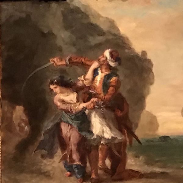 "Delacroix's ""The Bride of Abydos (Selim and Zuleika),"" 1857, Kimbell Art Museum, Fort Worth, Texas. Inspired like many of his paintings by the writings of Lord Byron, we learn from the placard that it is ""Set in the Dardanelles in Ottoman Turkey, it depicts the pirate Selim attempting to rescue his lover Zuleika from the harem of the pasha Giaffir. After sounding the pistol to alert comrades waiting to rescue them offshore, Selim inadvertently reveals their location to Giaffir's approaching posse, thereby dooming the couple."""