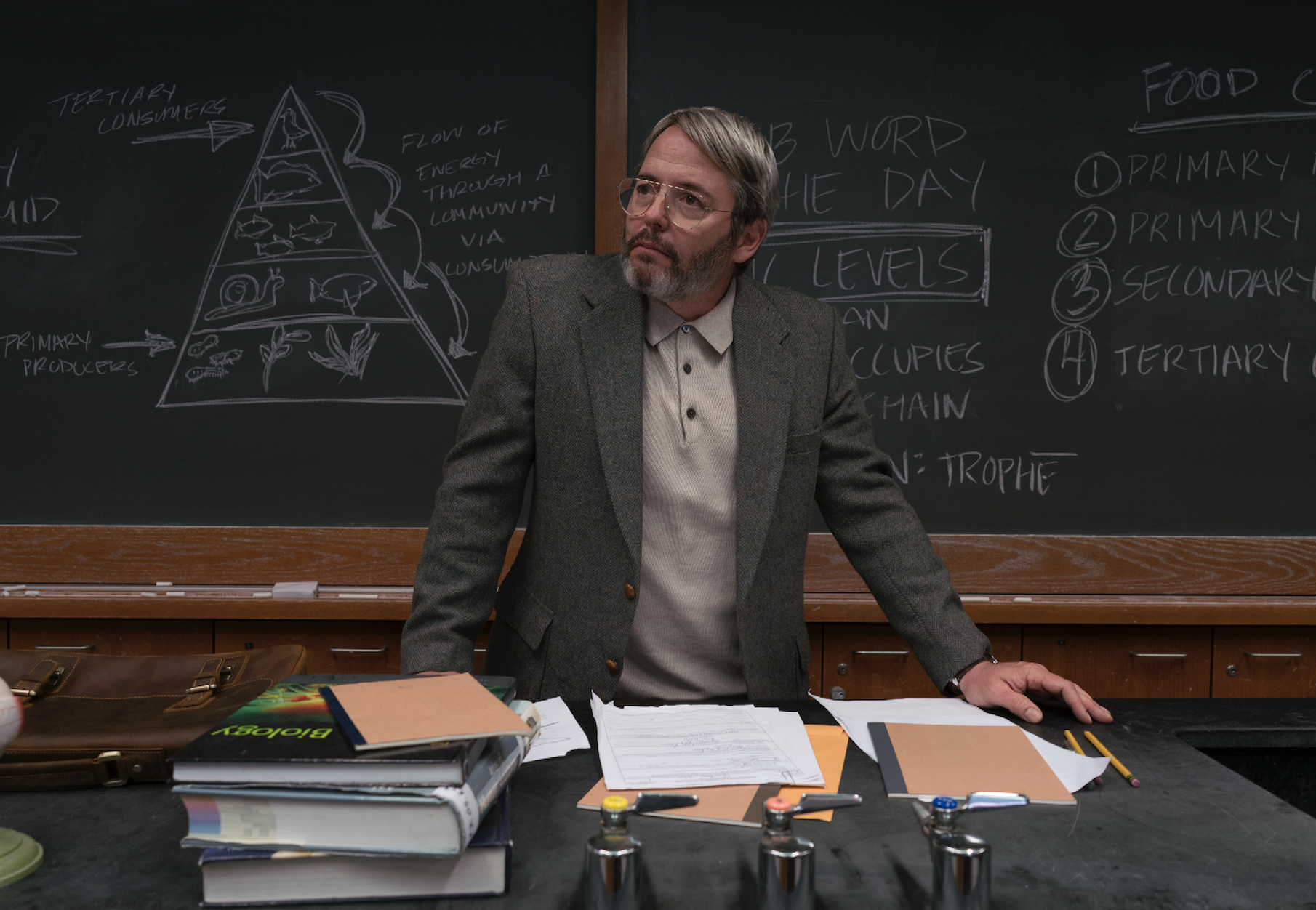 """Matthew Broderick as a divorced community college science teacher who has """"accepted his ceilings."""""""