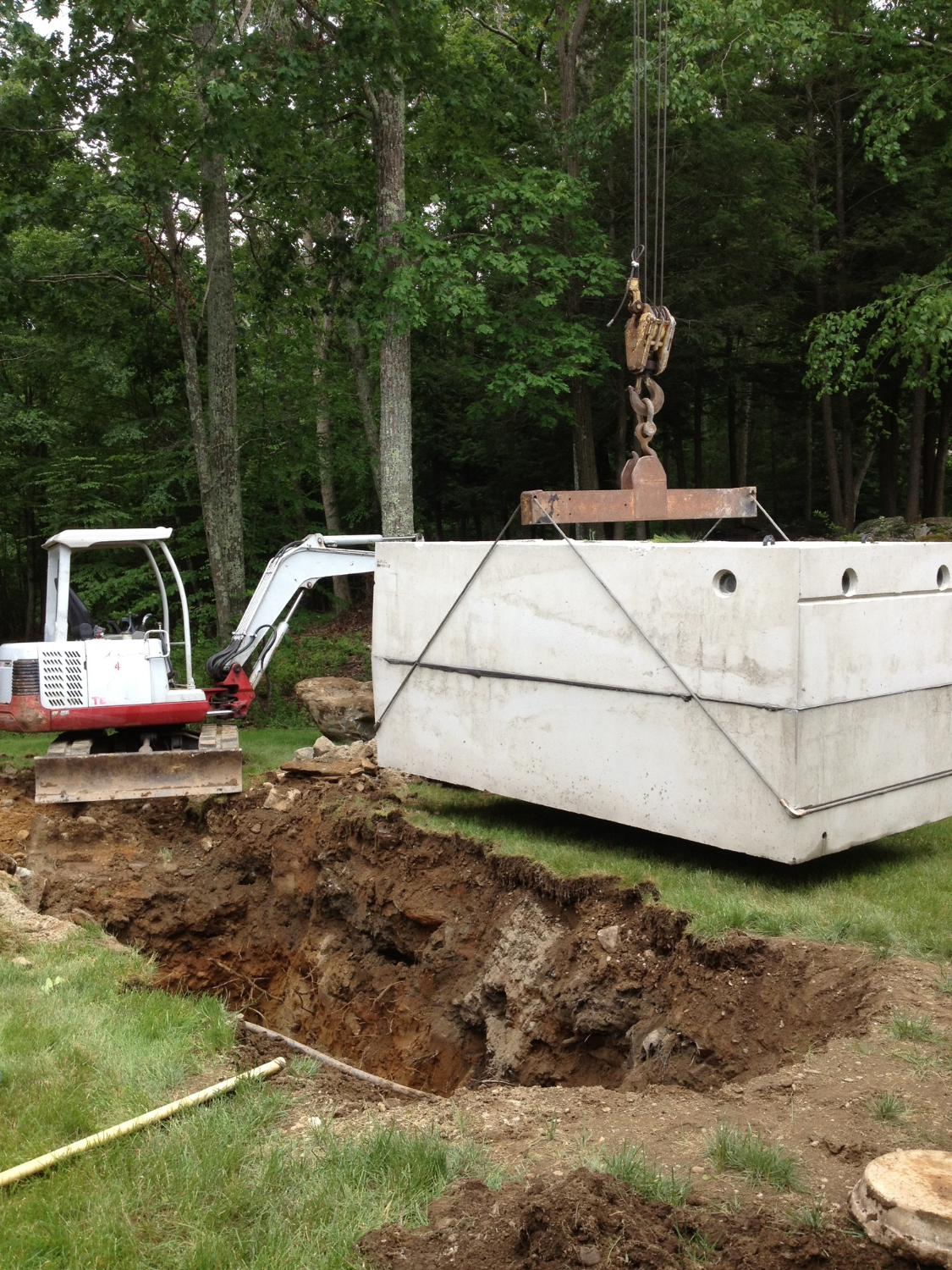 Replacing a collapsed septic tank