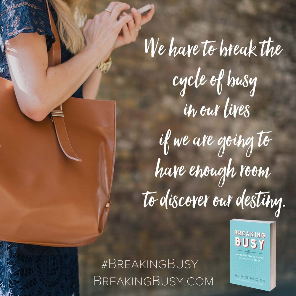 Breaking Busy Book. break the cycle of busy in our lives if we are going to have enough room to discover our destiny. Breaking Busy by Alli Worthington.jpg