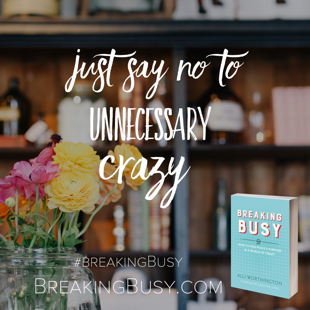Just say no to unnecessary crazy from Breaking Busy by Alli Worthington.jpg