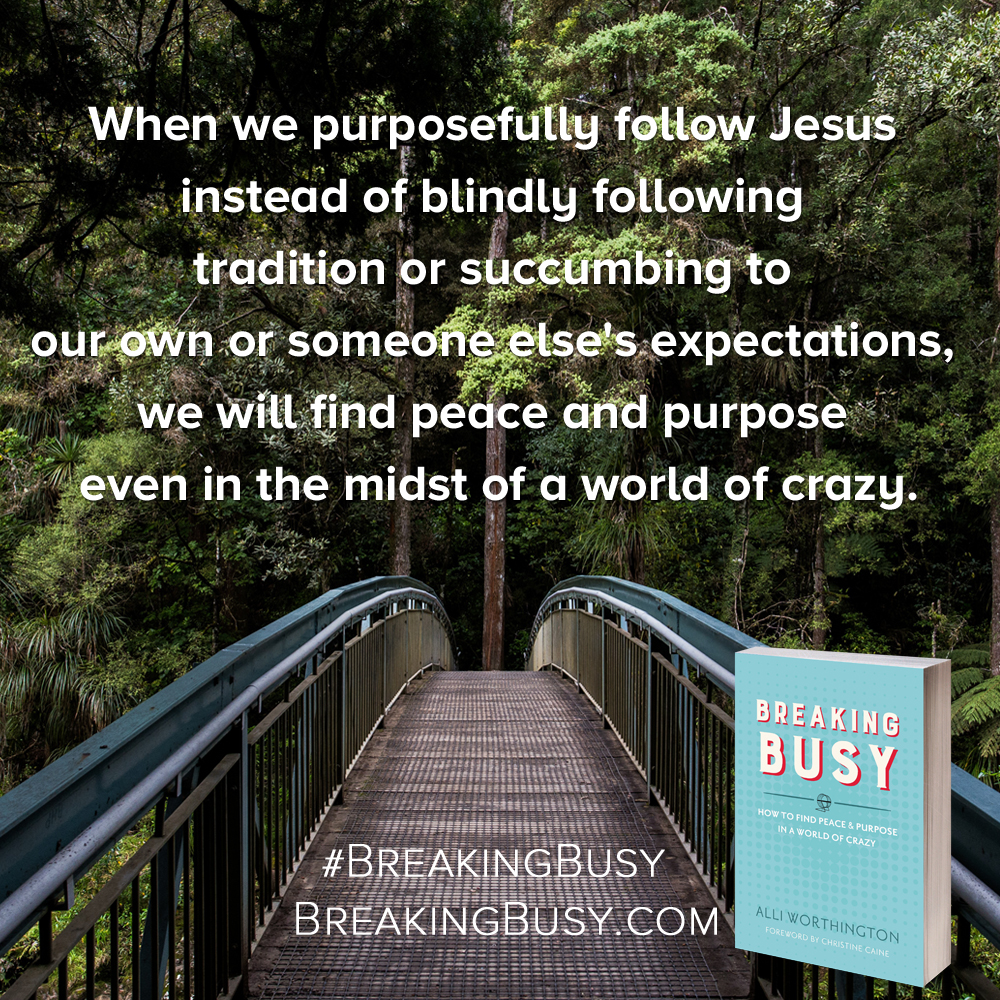 Breaking Busy book. When we purposefully follow Jesus instead of blindly following tradition or succumbing to our own or someone else's expectations, we will find peace and purpose even in the midst of a world of crazy. Alli Worthington.jpg