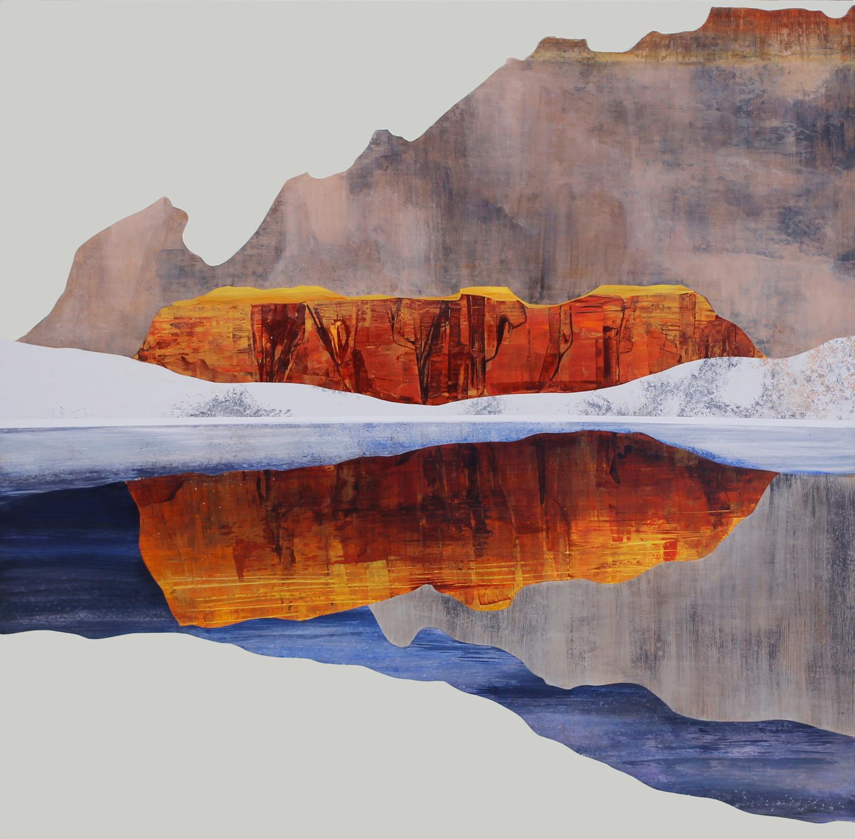 "Red Rocks, 48x48"". Acrylic on Panel"