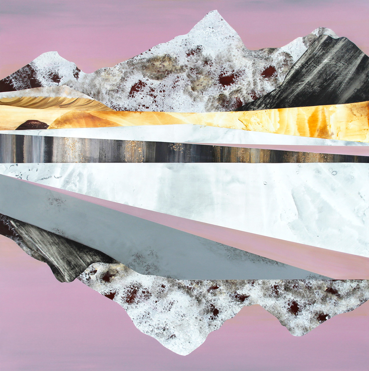 "Metamorphic Dreamscape, 60x60"". Acrylic on Panel."