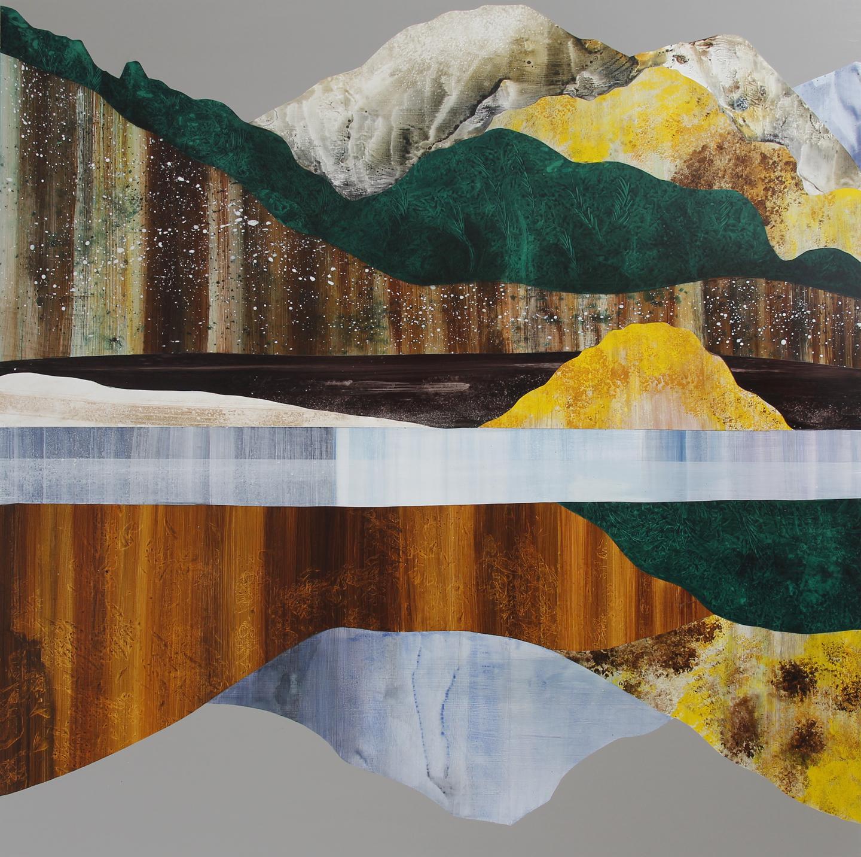 "Timberland, 50x50"", Acrylic on panel. 2019."
