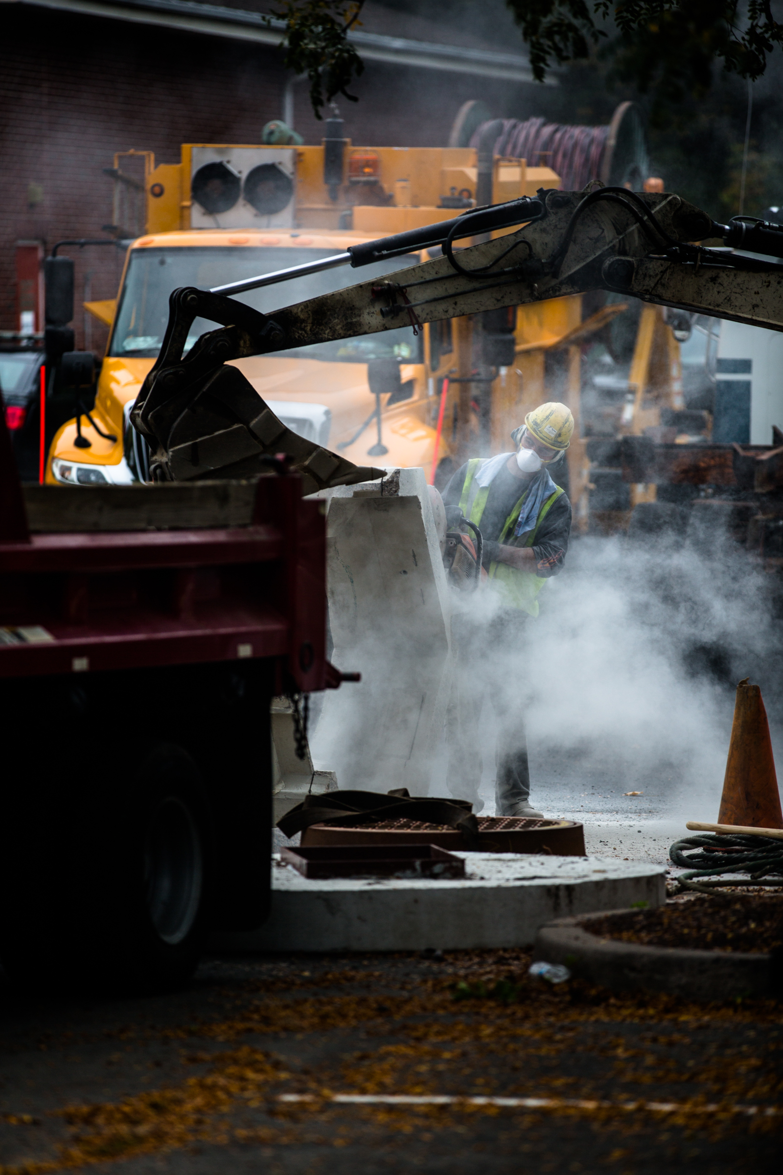 A worker uses a jack-hammer at Town Hall in Redding, Conn.