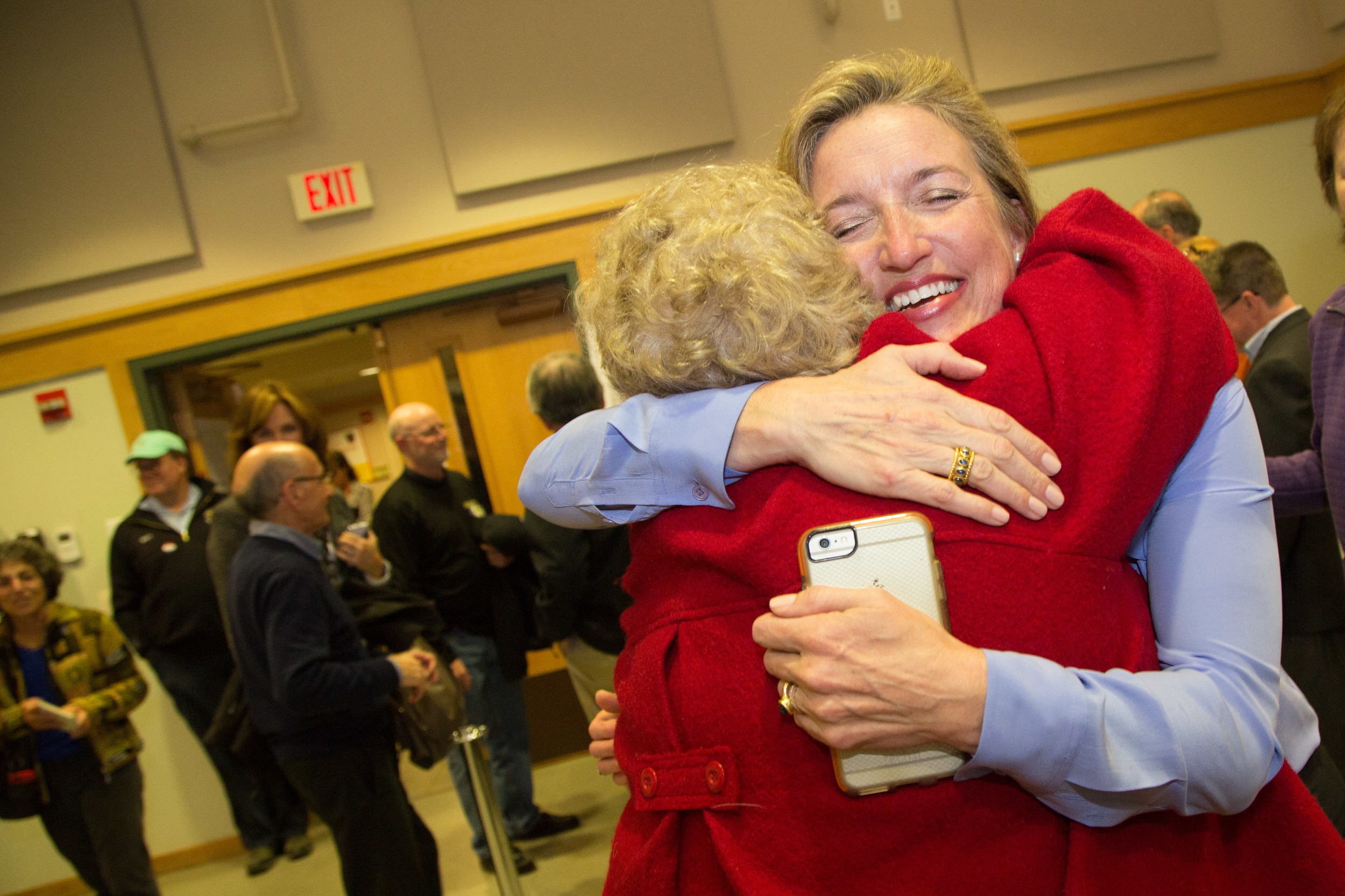 A first selectman celebrates victory at the polls in Redding, Conn.