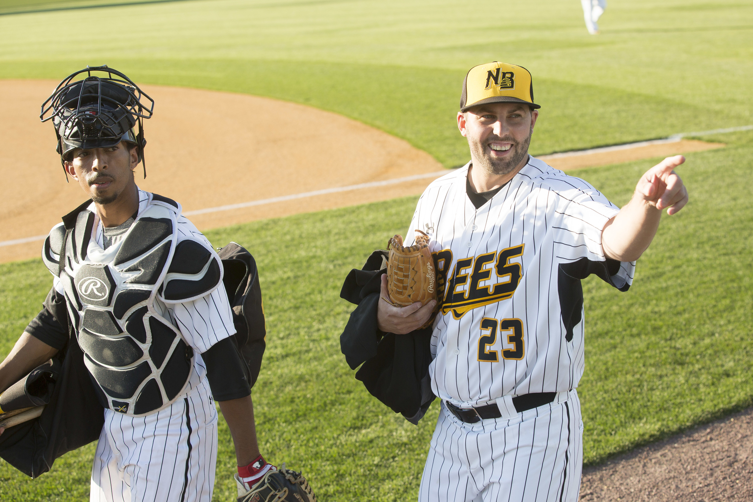Nick Greenwood, a starting pitcher for the NB Bees and his catcher.