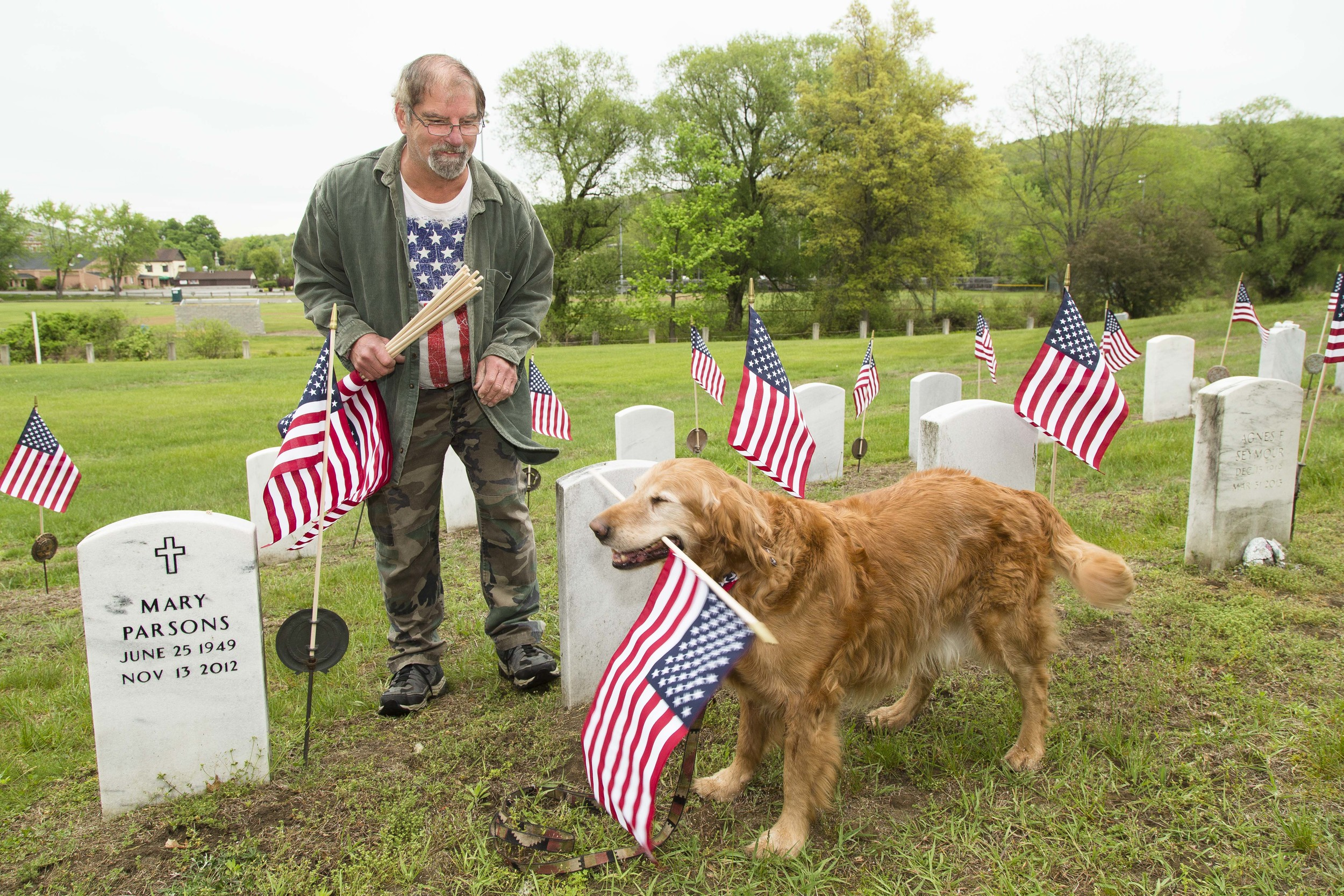 Don Hiller of Winsted, a veteran, and his dog Seamus.