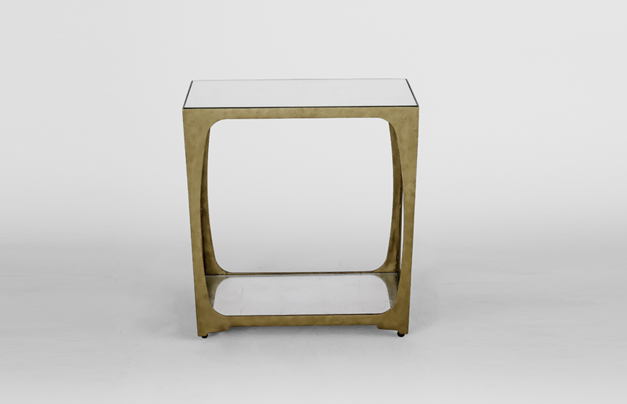 The Sherry Side Table - antique gold leaf finish, topped with silver leaf eglomise verre