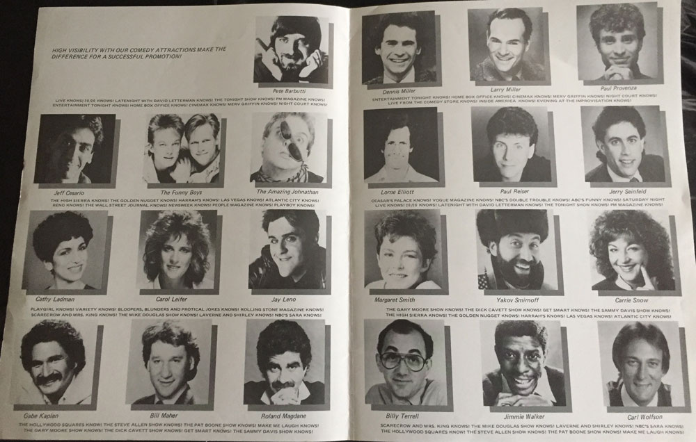 Spotlite's roster in the late 1980s – a good sampling from a generation of extraordinary comedians! Click on photo for larger image.