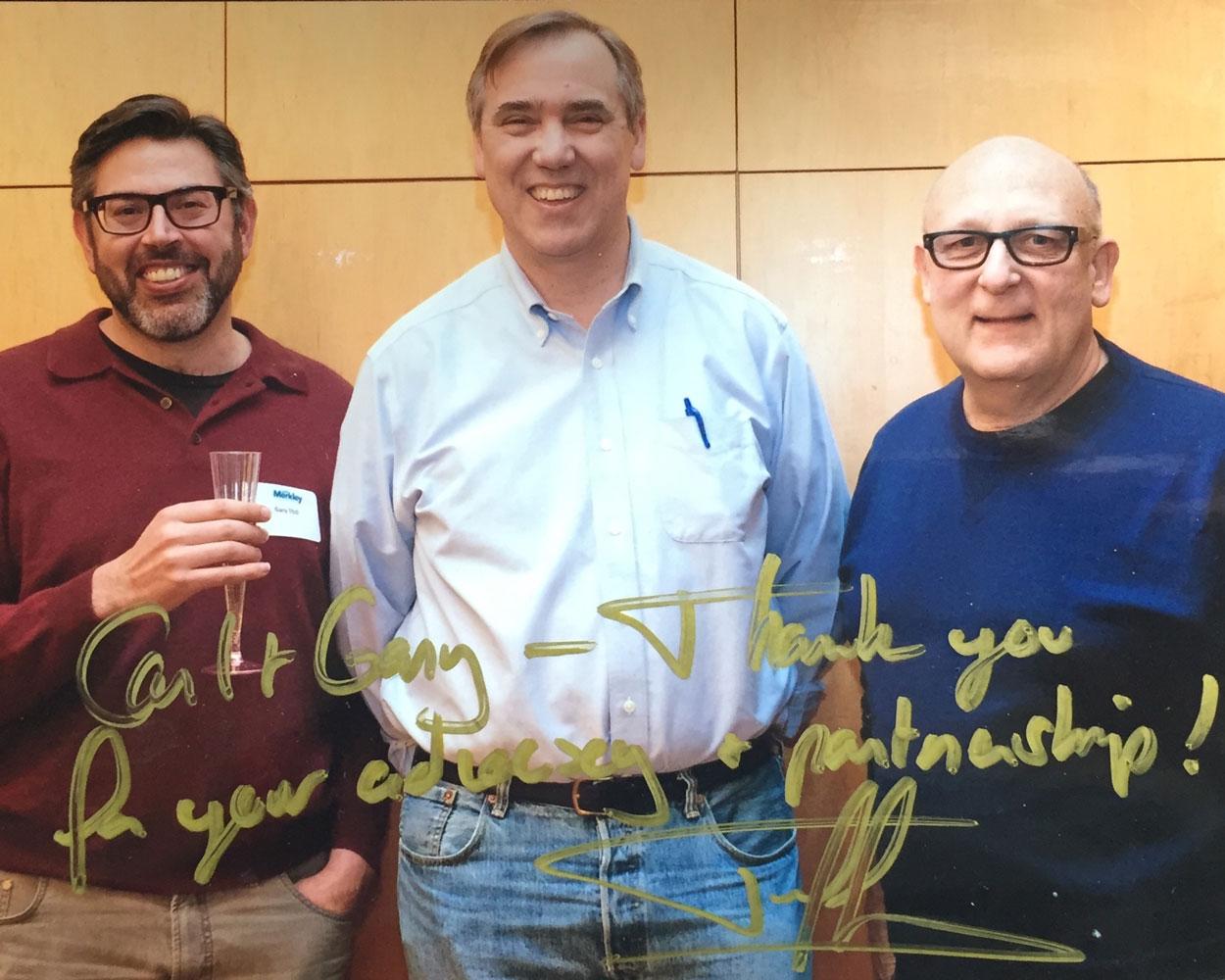 With husband Gary Thill and Senator Jeff Merkley