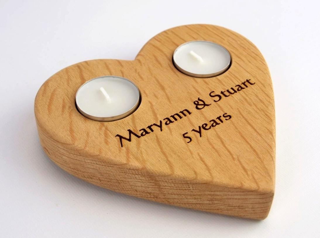 Personalised Large Heart tealight holder