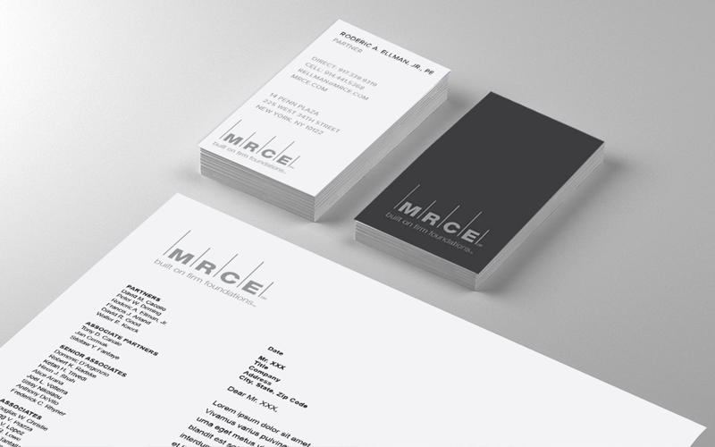 Vertical business cards just make sense for MRCE, which builds skyscraper foundations.