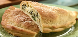 Spinach, Onion, & 3-Cheese Calzone on the Big Green Egg Smoker/Grill