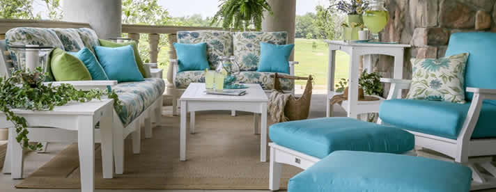 CLASSIC TERRACE Outdoor Poly Seating Collection by Berlin Gardens Outdoor Furniture [Subject to availability. Pieces, frame finishes, and fabrics may vary from photo.]  CLEARANCE SALE! NOW 20% OFF!