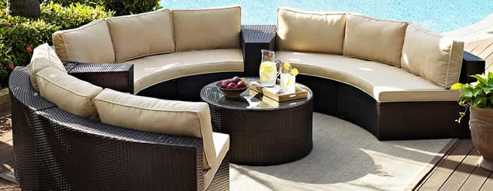 DEL MAR Curved Wicker Sectional Sofa by Patio Renaissance Outdoor Furniture [Subject to availability. Pieces, frame finishes, and fabrics may vary from photo.]  CLEARANCE SALE! NOW 30% OFF!