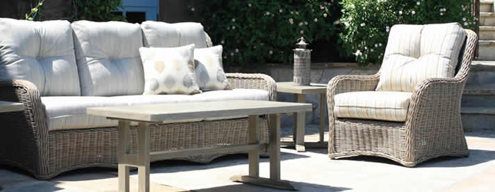WEST HAMPTON [SOUTH BAY] Wicker Seating Collection by Patio Renaissance Outdoor Furniture [Subject to availability. Pieces, frame finishes, and fabrics may vary from photo.]  CLEARANCE SALE! NOW 40% OFF!