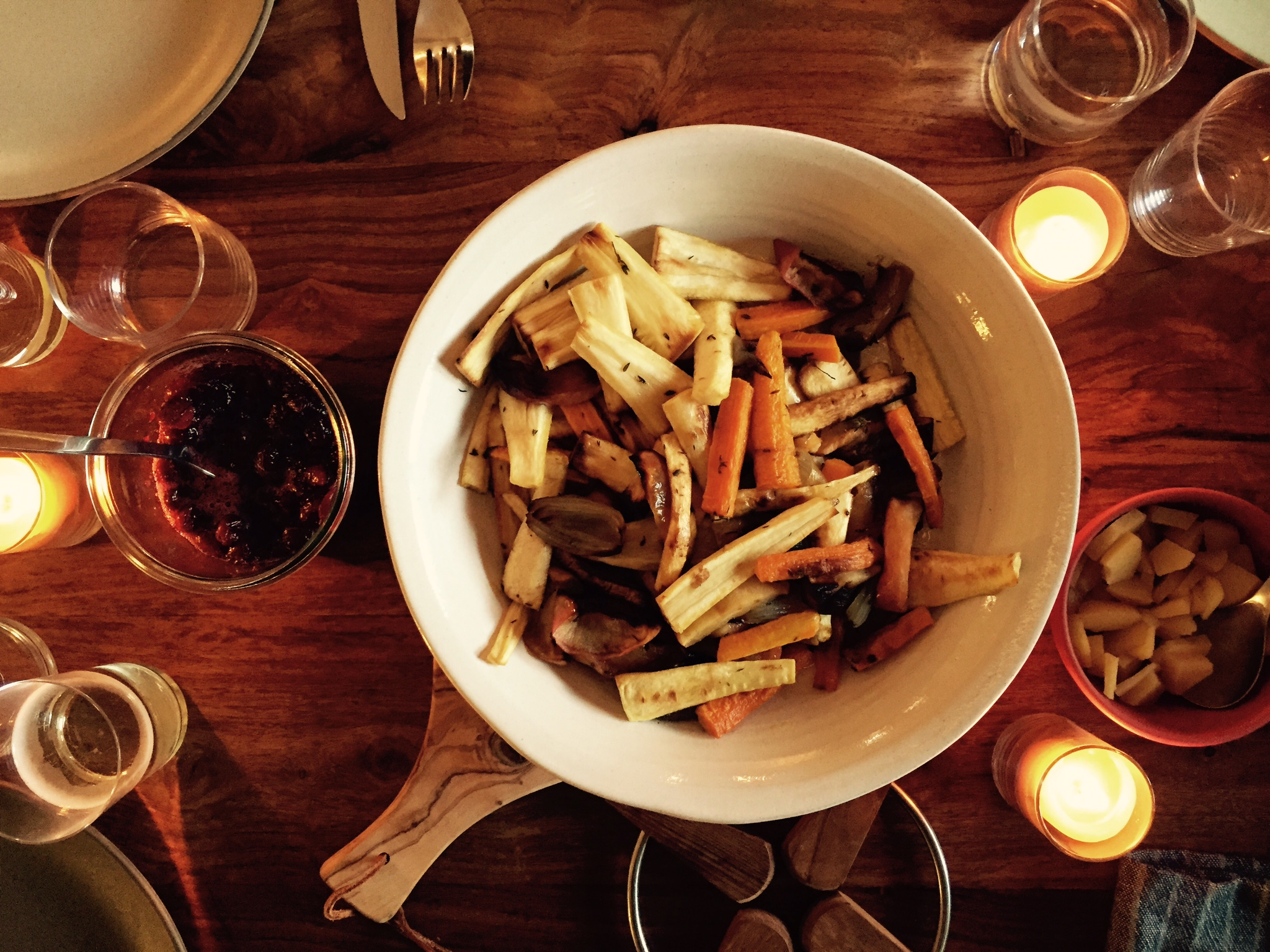 Roasted Parsnips, Apples, Carrots and Thyme