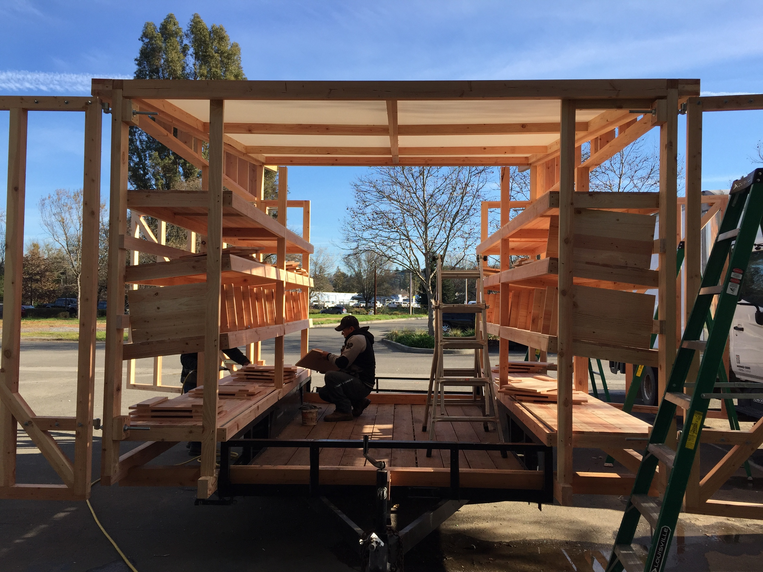 The chicken tractor in the process of being built at the wood shop in town. We built it on a 2 axle trailer.