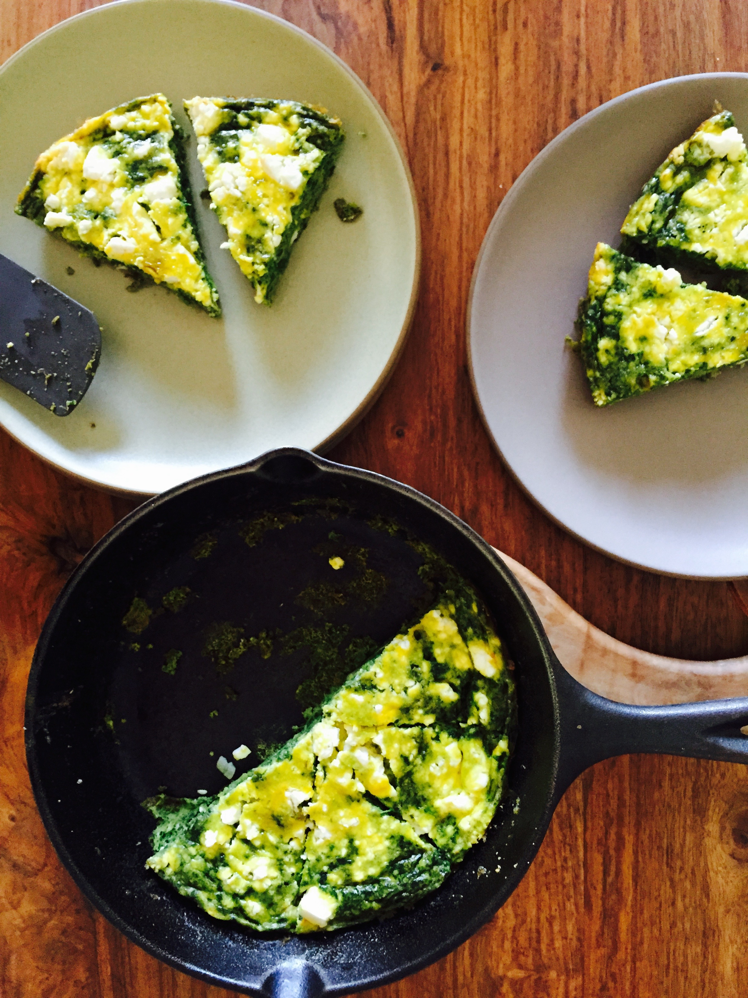 Green Frittata with Spring Onion and Goat Feta