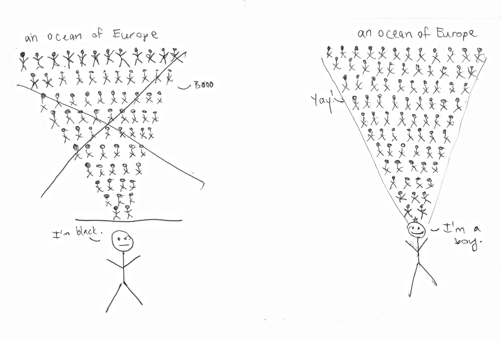 """""""Transracial"""" versus Transgender by Erin Langley, the professional artist. Diagram not to scale."""