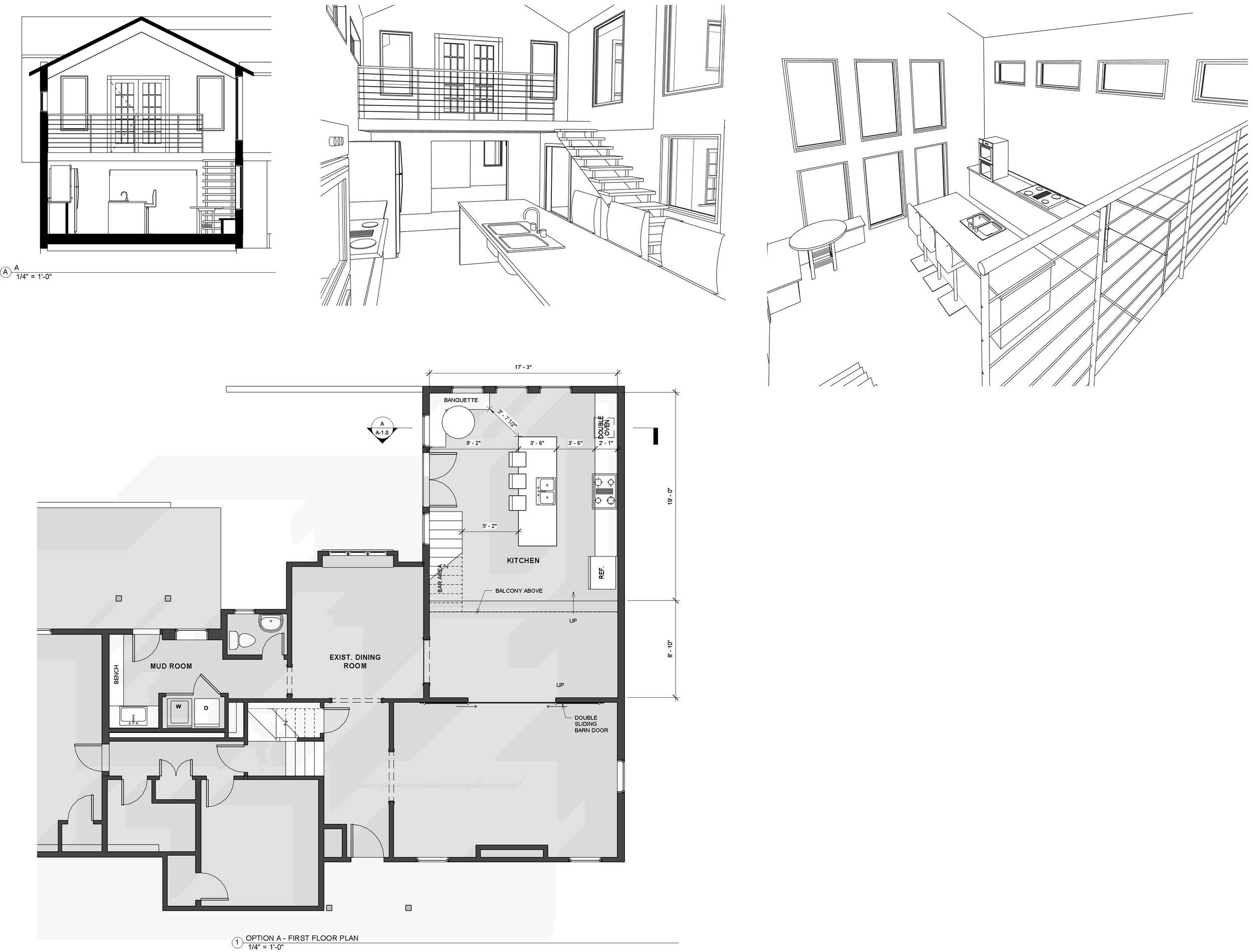 Example of a Schematic floor plan and a few 3D views