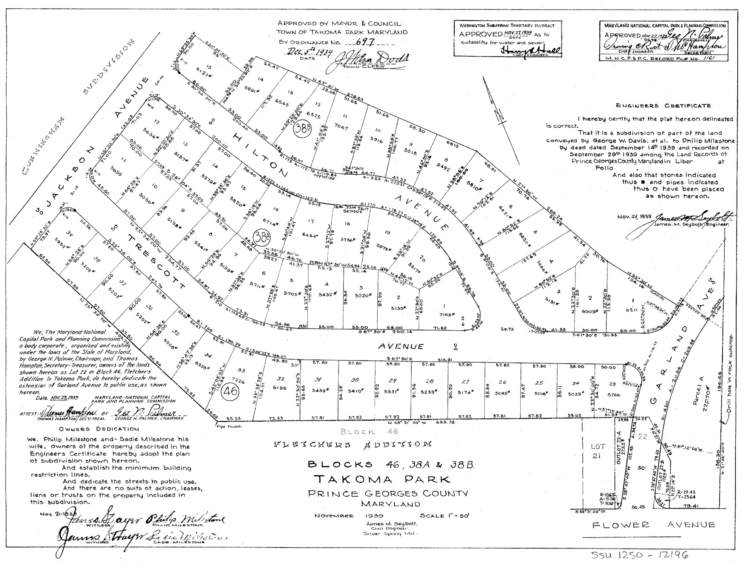 Plat of a neighborhood in Takoma Park.